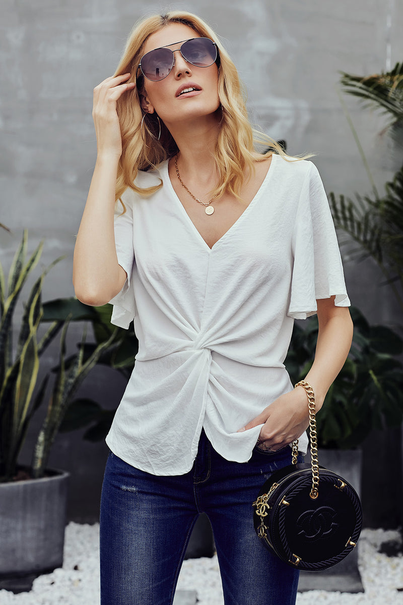 White V-Neck Bell Sleeve Twist Pleated Blouse - GHA Discount