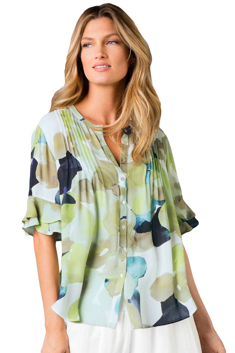 Draped Tie Dye Print Blouse with Flounced Sleeves - GHA Discount