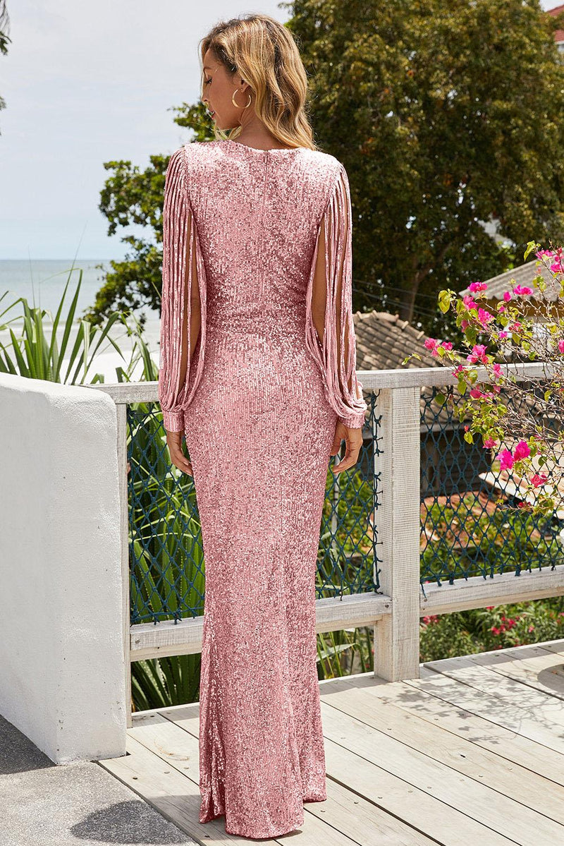 Pink Sequin Fringe Sleeve Party Maxi Evening Dress - GHA Discount