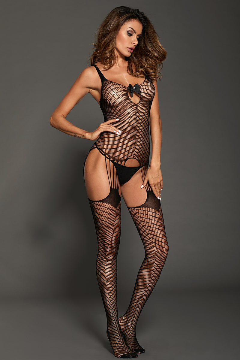 Bowknot Applique Hollow-out Chevron Print Bodystocking - GHA Discount