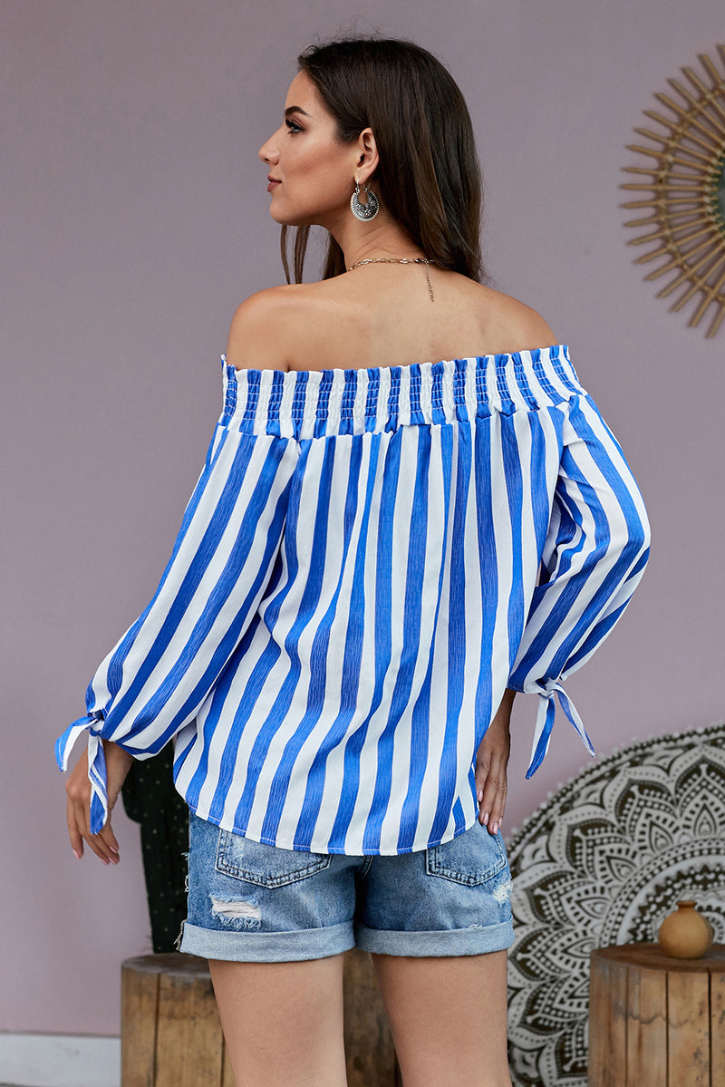 Blue Summer on You Off The Shoulder Top - GHA Discount