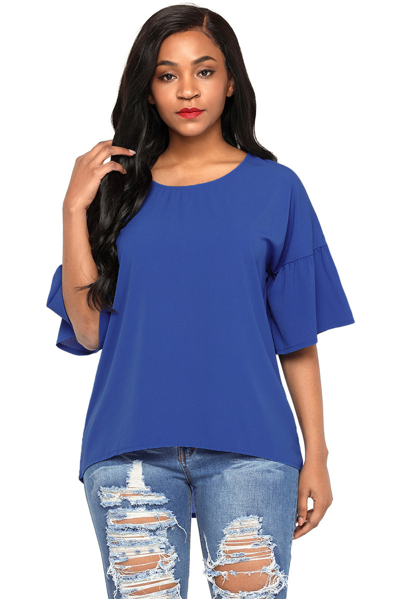 Royal Blue Short Bell Sleeves Sheer Chiffon Blouse - GHA Discount