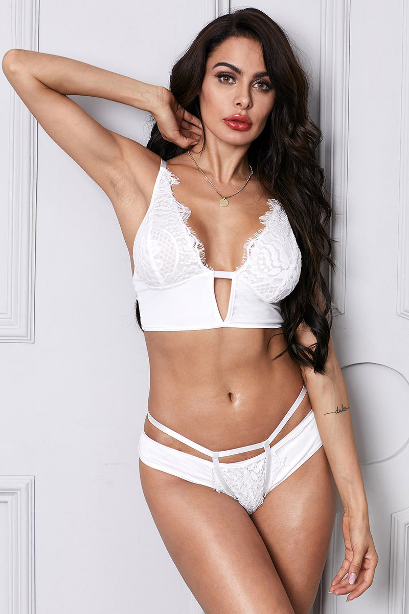White Cut Out Plunge Lace Longline Underwire bra - GHA Discount