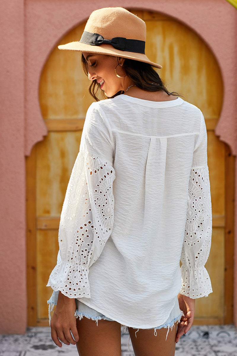 White Rekindle Eyelet Button Down Top - GHA Discount
