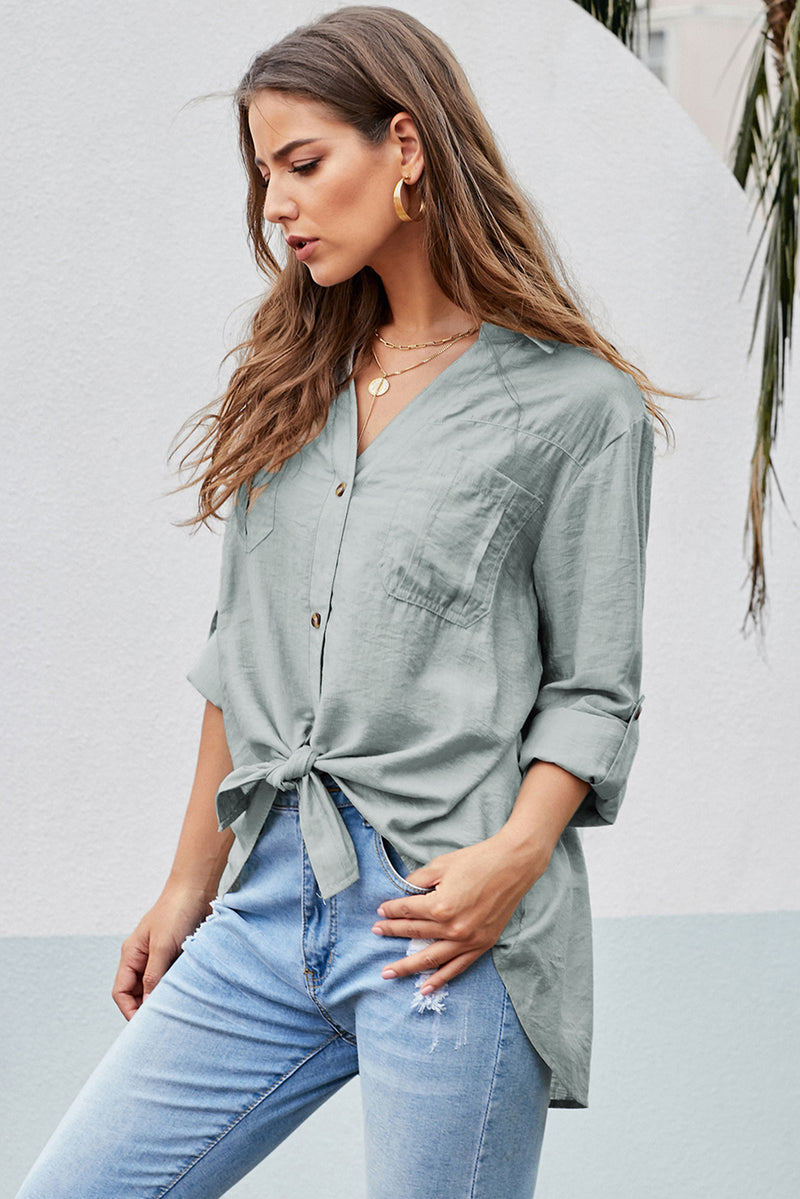 Button up Front Tie Top - GHA Discount