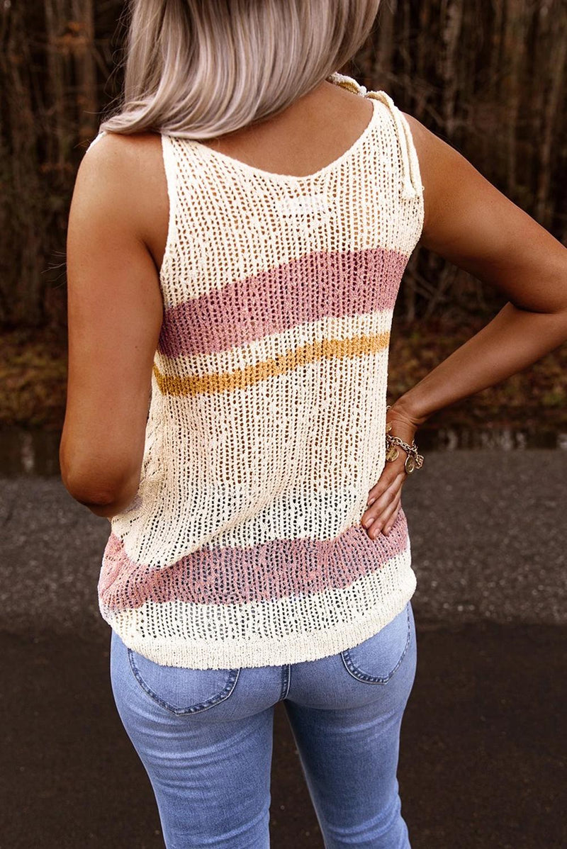 White Striped Colorblock Textured Knit Tank - GHA Discount