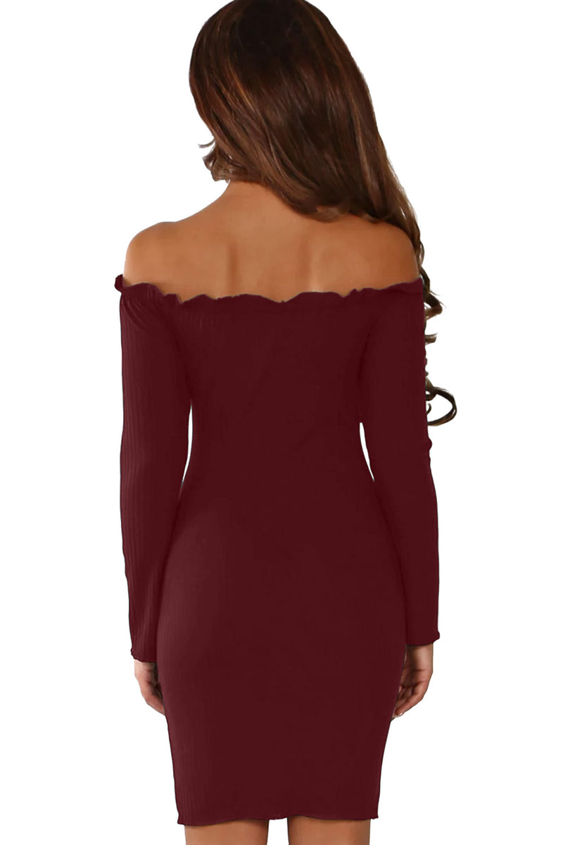 Burgundy Button Front Ribbed Bardot Mini Dress - GHA Discount