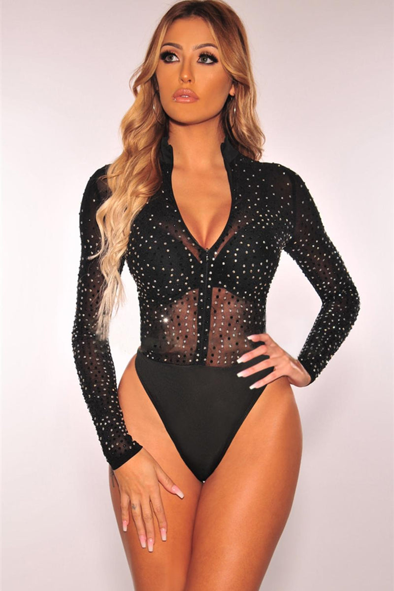 Black Sheer Silver Rhinestone Studded Mock Neck Zipper Bodysuit - GHA Discount
