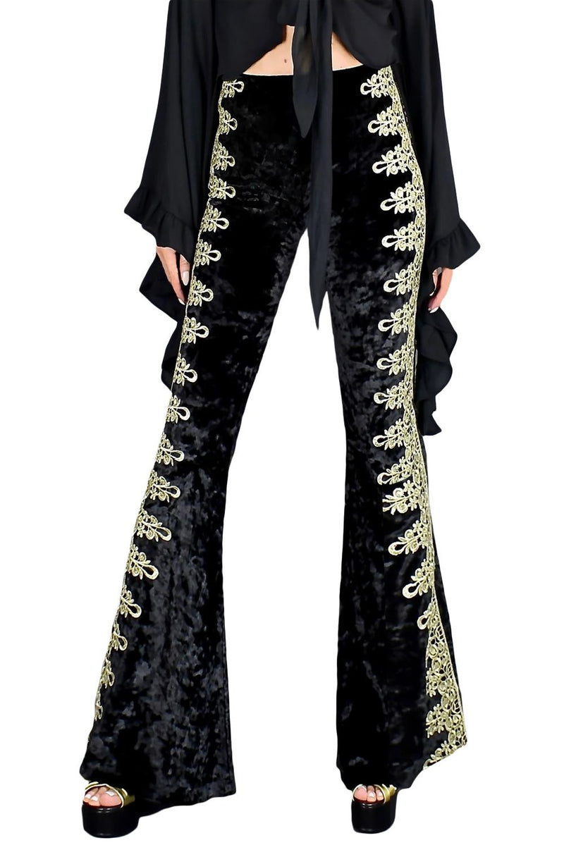 Gold Lace Stitching Velvet Flare Pants - GHA Discount