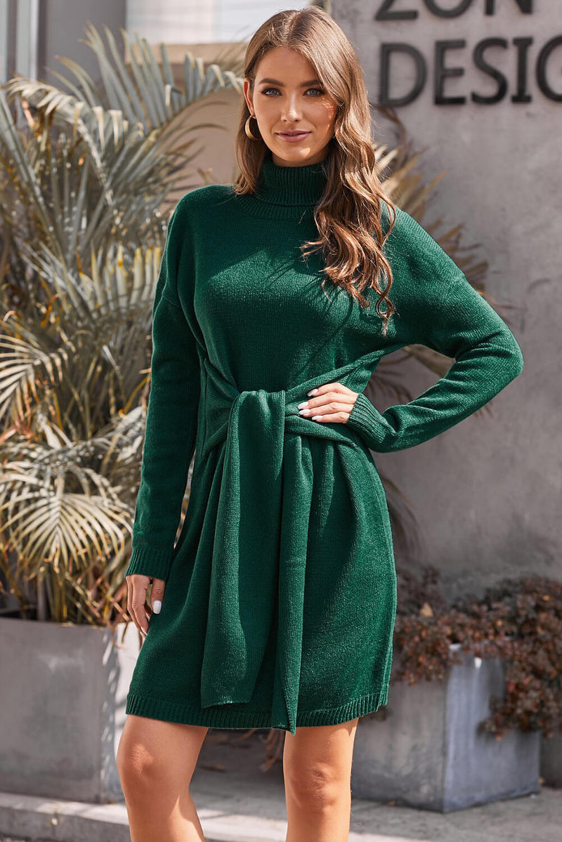 Green Long Sleeve Tie Waist Turtleneck Pullover Sweater Dress - GHA Discount