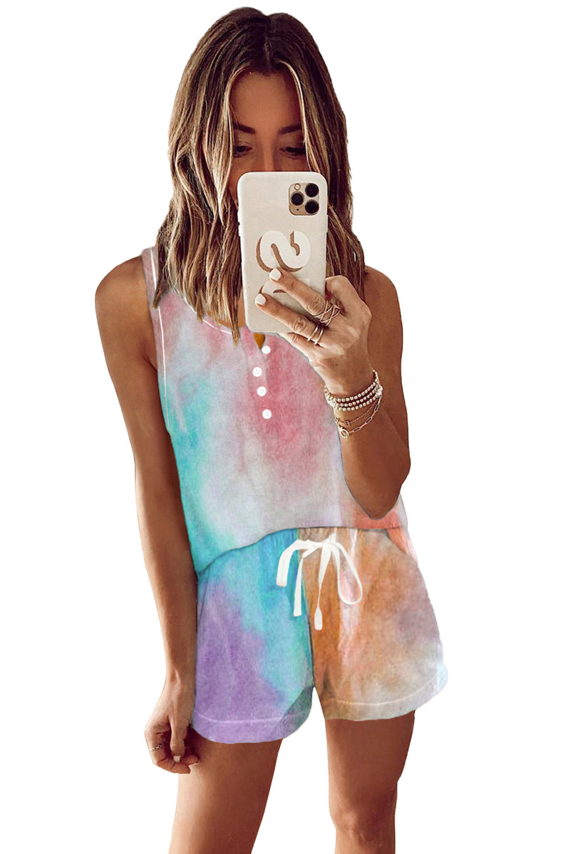 Multicolor Tie-dye Knit Sleeveless Shorts Pajamas Set - GHA Discount