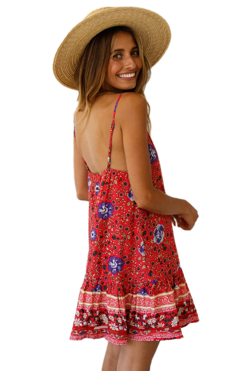 Red Floral Slip-on Dress - GHA Discount