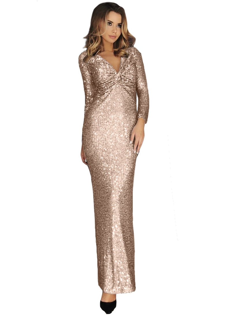 Apricot Long Sleeve V Neck Twist Ruched Sequin Party Maxi Dress - GHA Discount