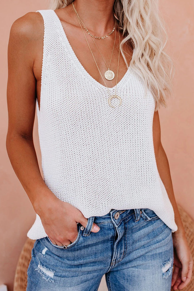 White Knit Tank Top - GHA Discount