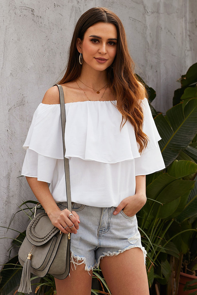 White Soft Breeze Frilling Off-shoulder Top - GHA Discount