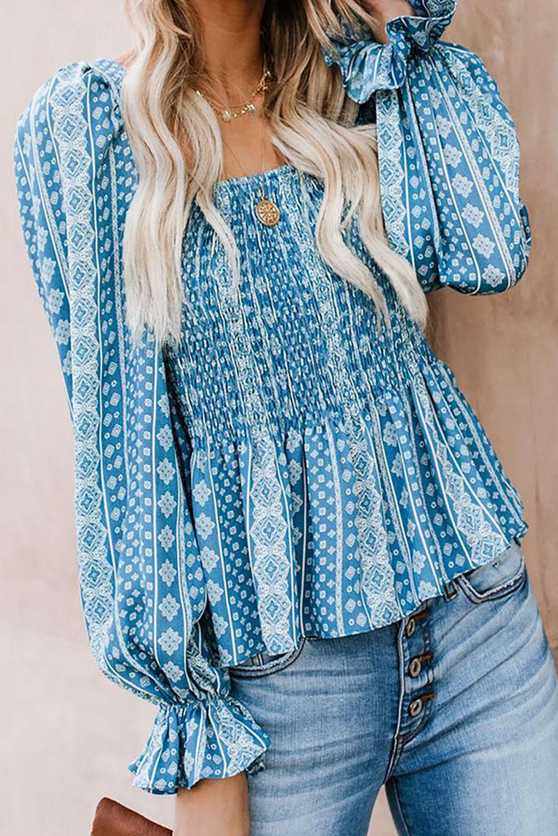 Sky Blue Bohemian Print Shirred Bodice Tunic Top - GHA Discount