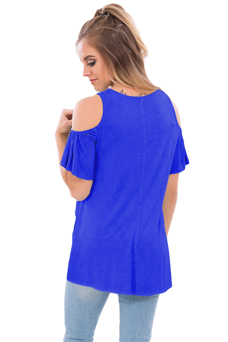 Royal Blue Crisscross Front Cold Shoulder Ruffle Sleeve Top - GHA Discount