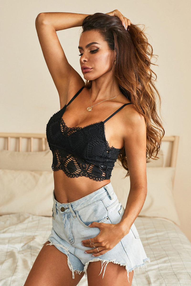 Black Patterned Lace Bralette - GHA Discount