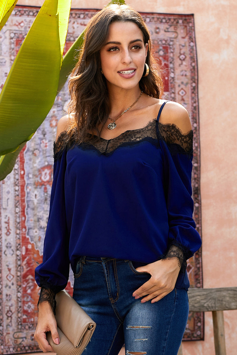 Blue Trixie Lace Cold Shoulder Blouse - GHA Discount