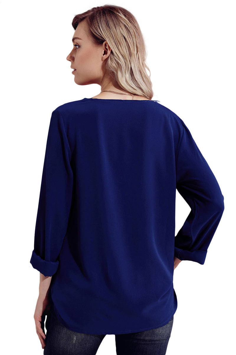 Turndown Collar Asymmetric Blouse - GHA Discount