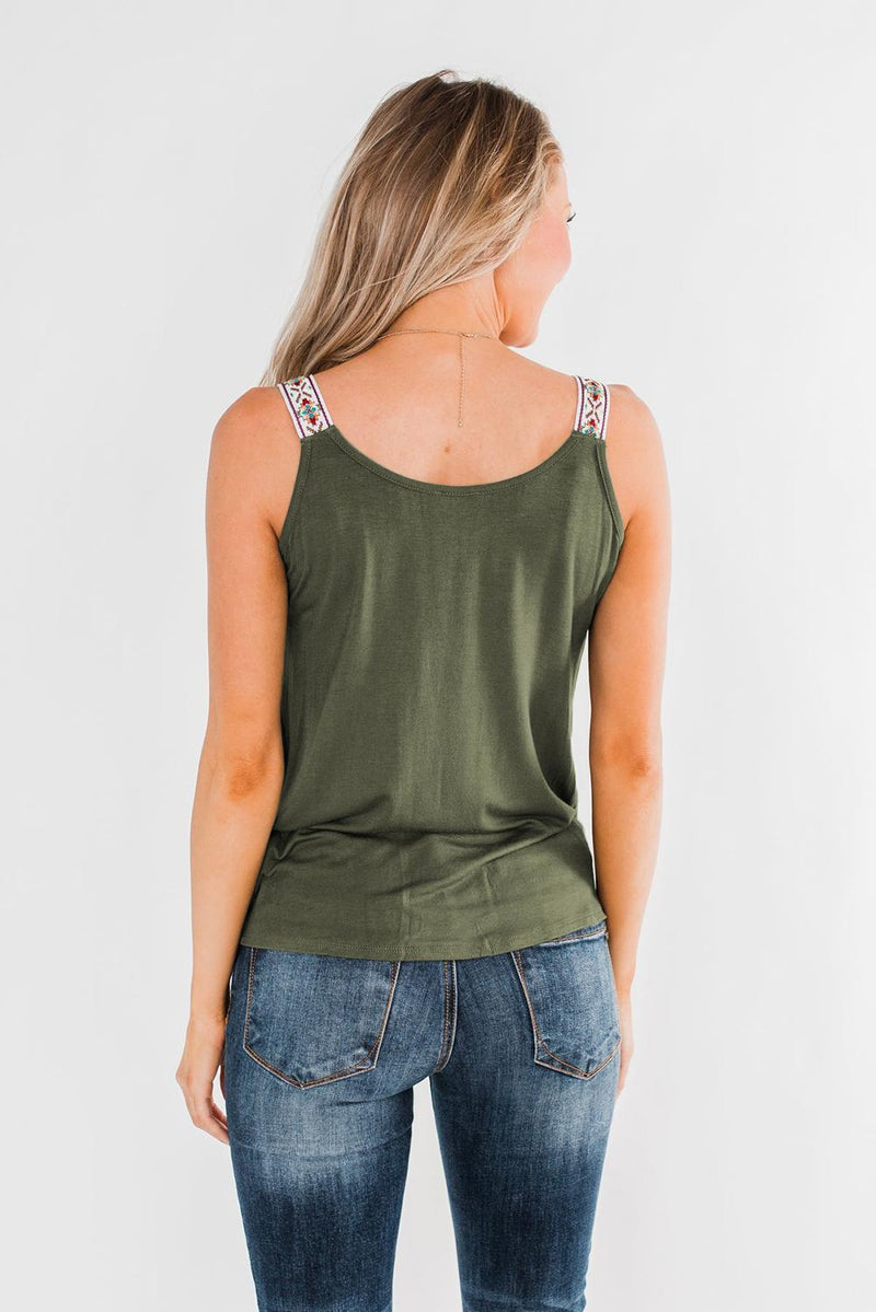 Green Somewhere Next To You Twist Tank Top - GHA Discount