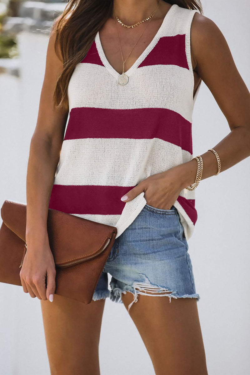 Red Striped V-Neck Knit Tank - GHA Discount