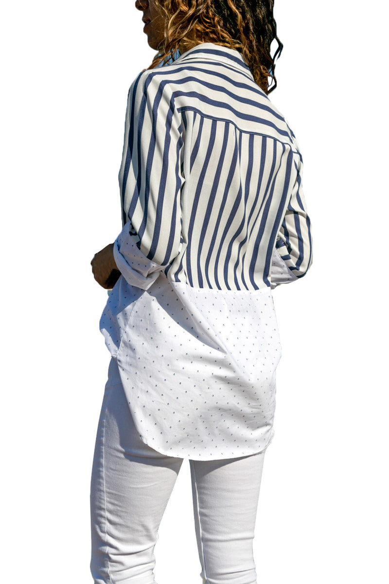Stripes and Dot Patchwork Relaxed Boyfriend Shirt - GHA Discount