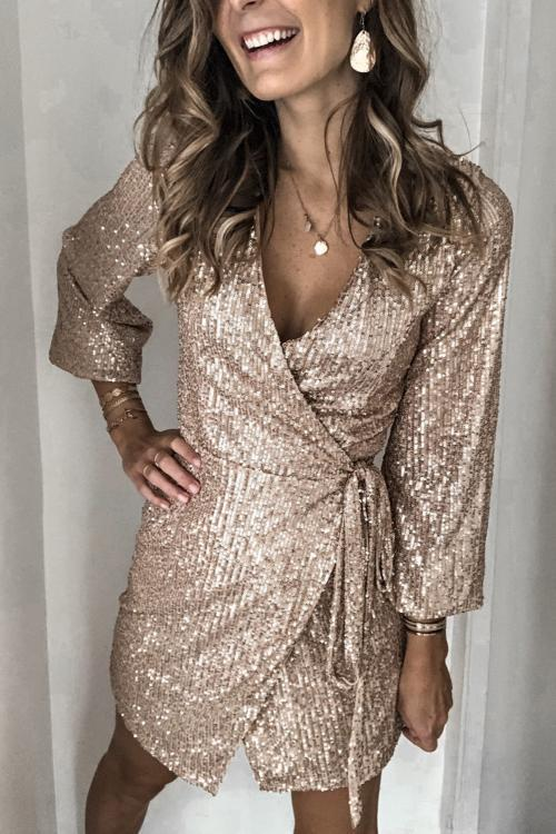 Apricot Sequin Wrap Dress with Sash - GHA Discount