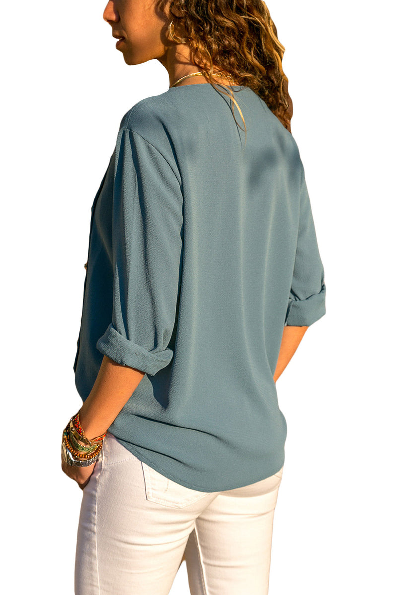 Turndown Collar Button Down Blouse - GHA Discount
