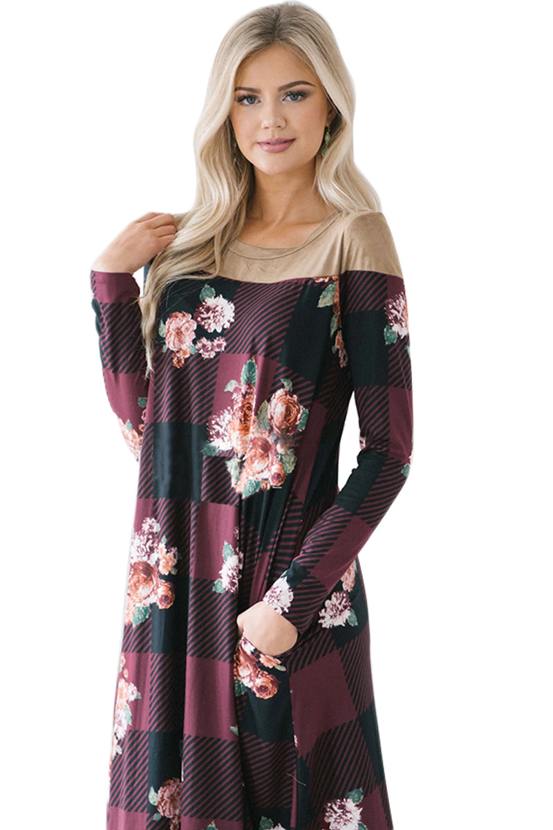 Burgundy Floral Checked Long Sleeve Casual Midi Dress - GHA Discount