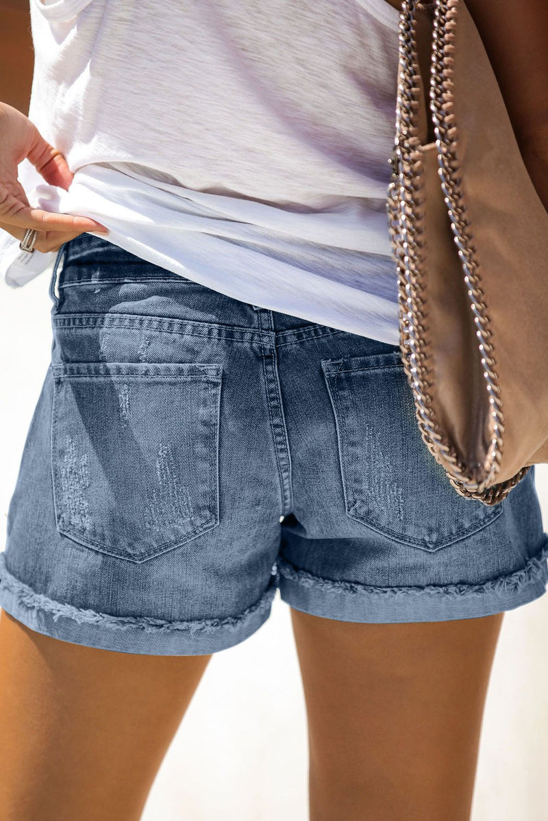 Women's Distressed Ripped Rolled Hem Blue Denim Shorts - GHA Discount