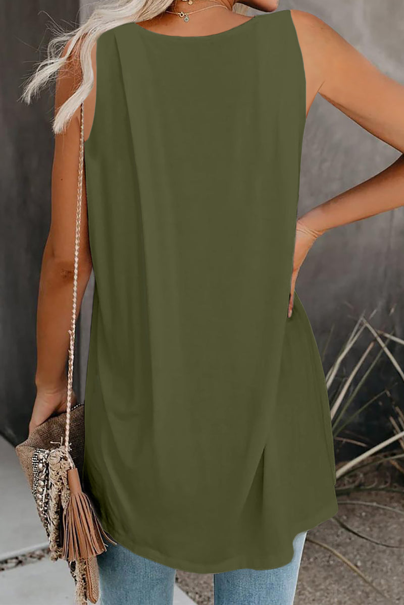 Green V Neck Sleeveless High Low Tank Top - GHA Discount