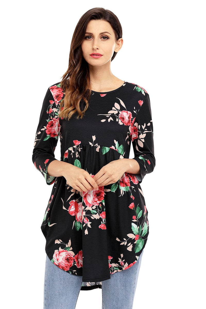 Black Babydoll Floral Tunic Top - GHA Discount