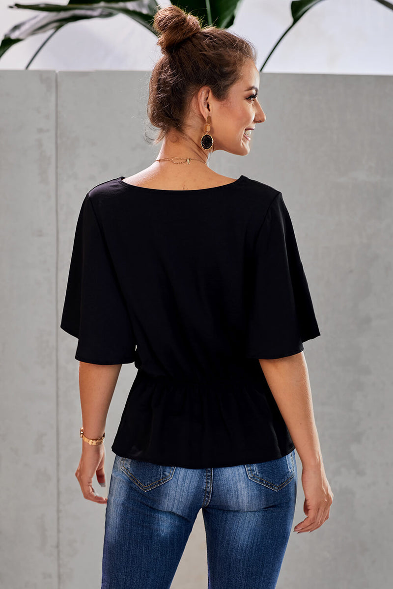 V-Neck Bell Sleeve Twist Pleated Blouse - GHA Discount