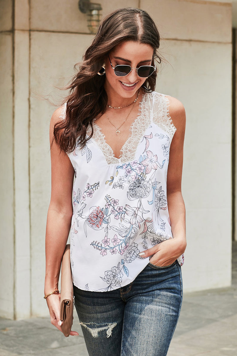 White Freesia Floral Print Contrast Lace Tank - GHA Discount