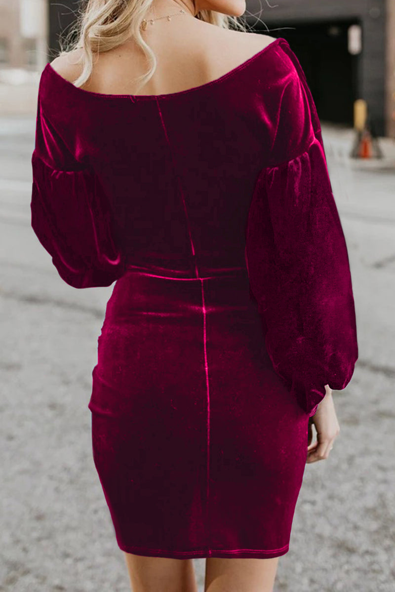 Red Puff Sleeve Off Shoulder Wrap Bodycon Velvet Dress - GHA Discount