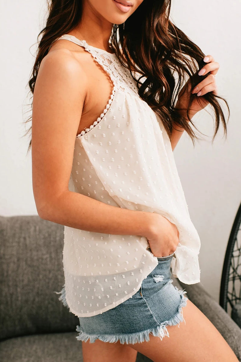 White Swiss Dot Lace High Neck Top - GHA Discount