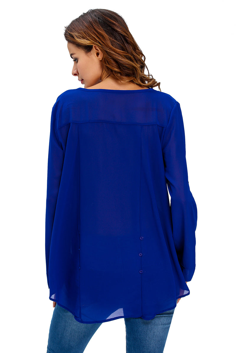 Royal Blue V-Neck Button Detail Dip Back Blouse Top - GHA Discount