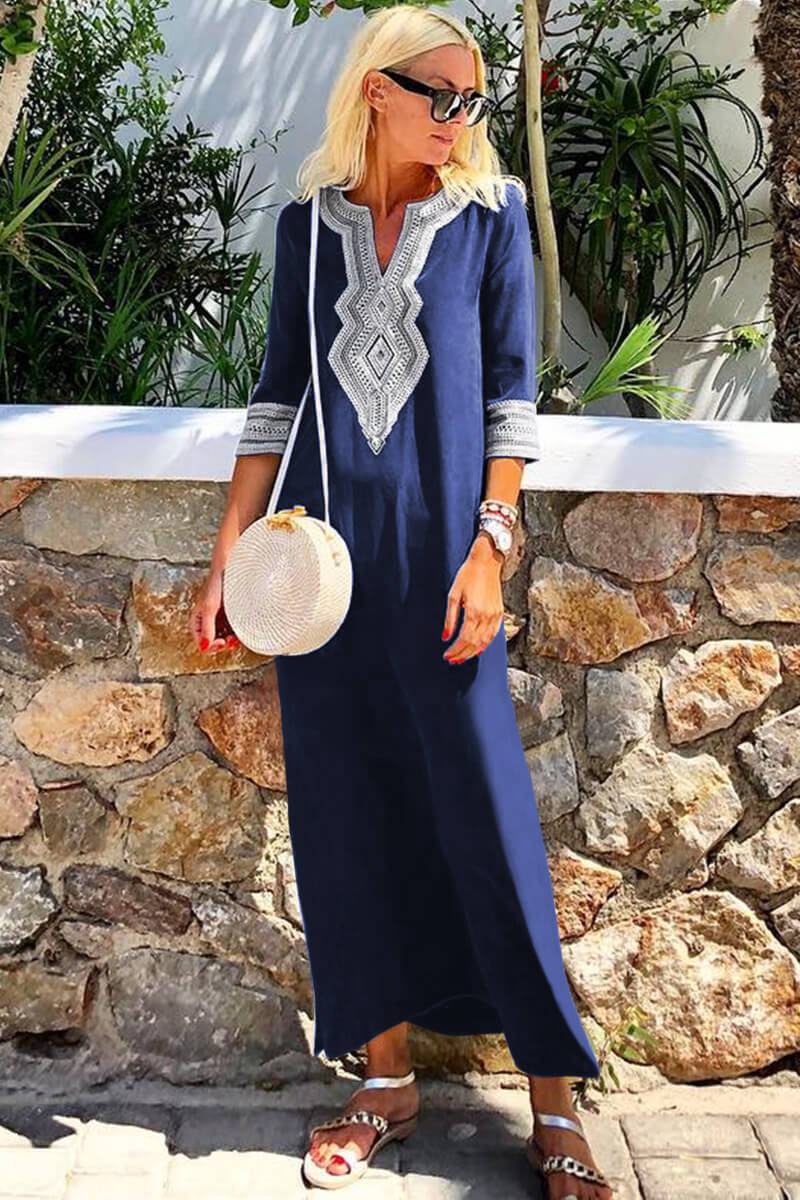 Blue Casual Crochet Embroidered Slit Summer Dress - GHA Discount