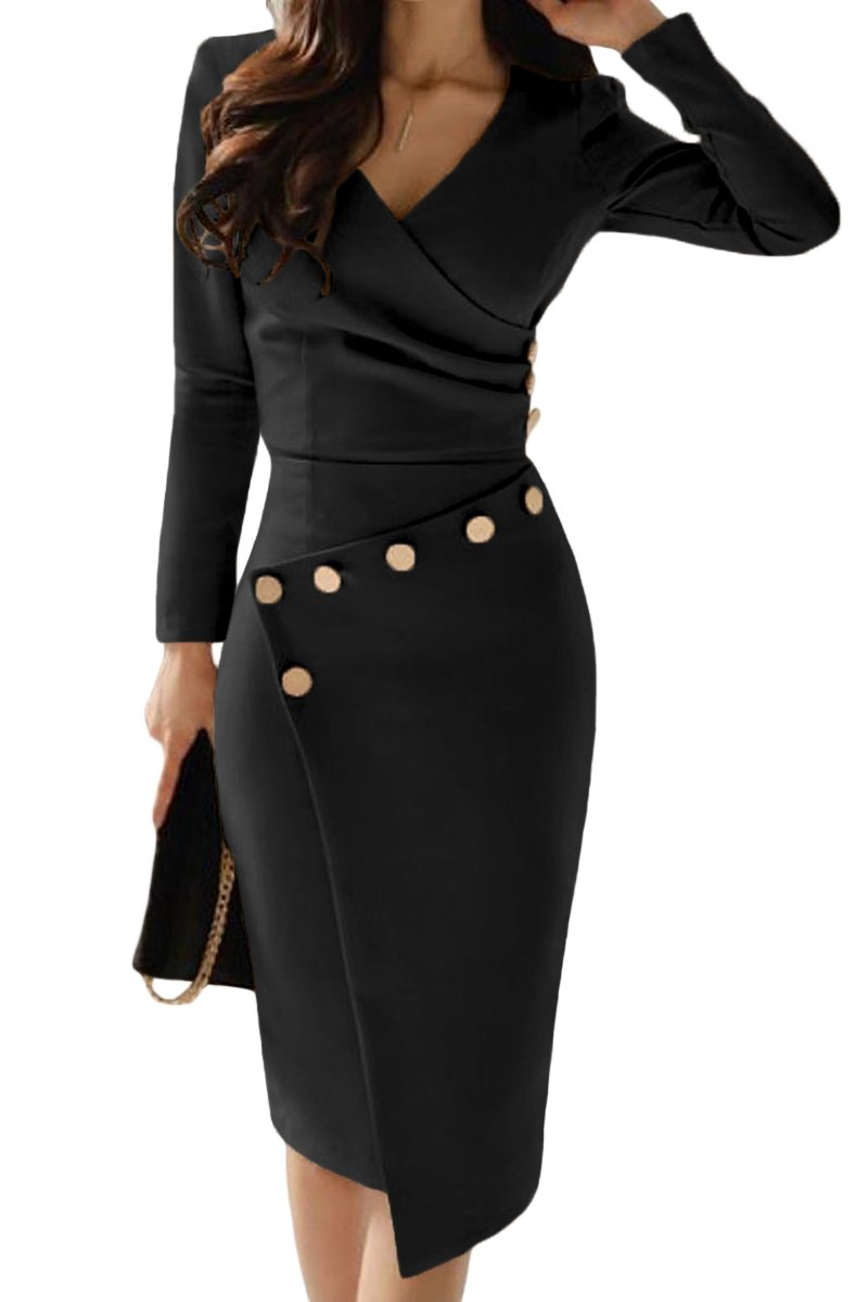 Asymmetric Button Detail Black Ruched Midi Dress - GHA Discount