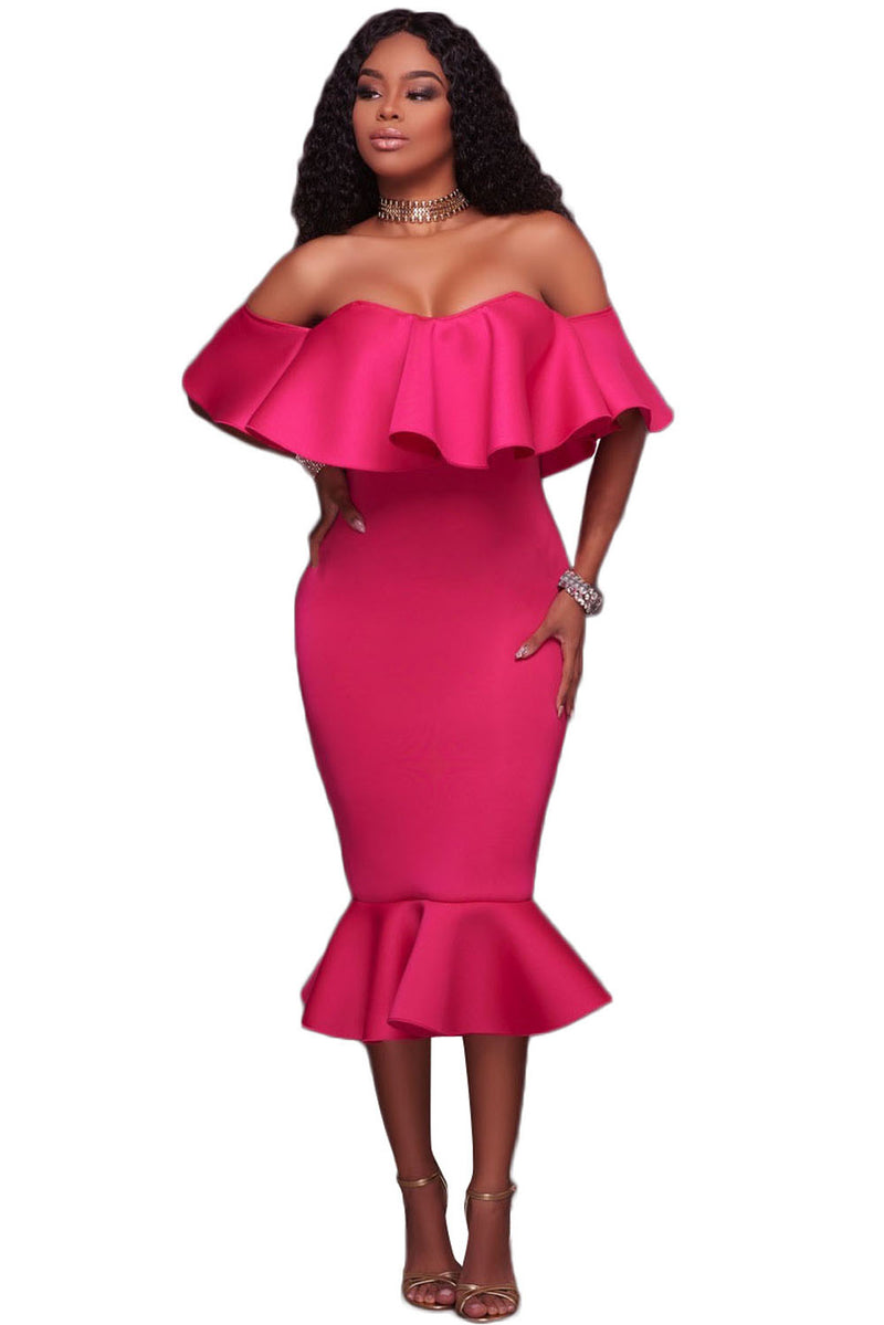 Rosy Ruffle Off Shoulder Mermaid Midi Party Dress - GHA Discount