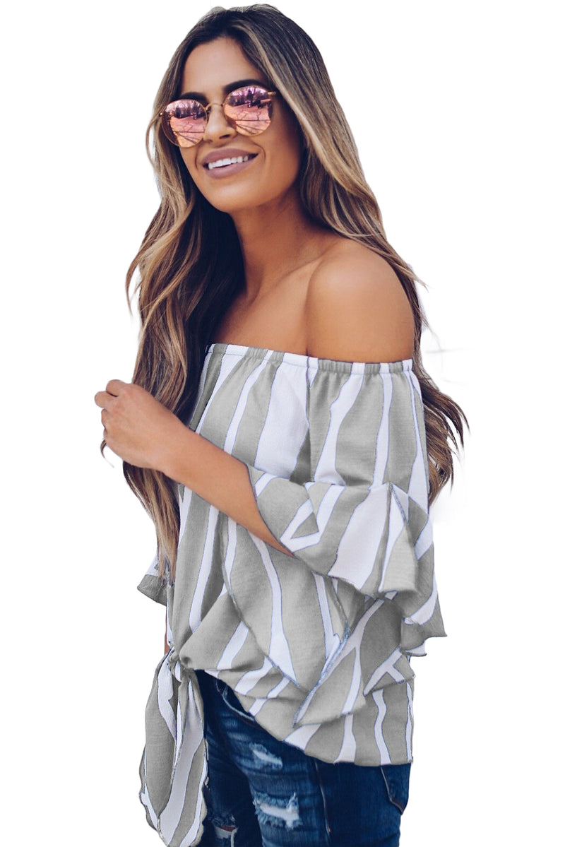 Off The Shoulder Vertical Stripes Blouse in Grey - GHA Discount