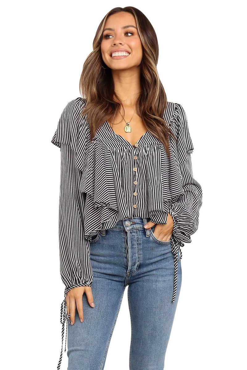 Ruffle&Tie Striped Shirt - GHA Discount