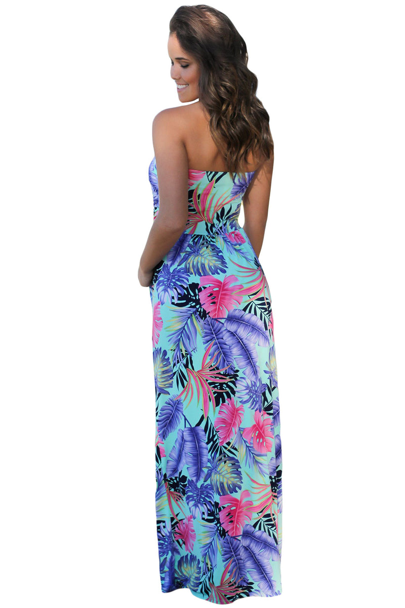 Mint Tropical Strapless Maxi Dress with Pockets - GHA Discount