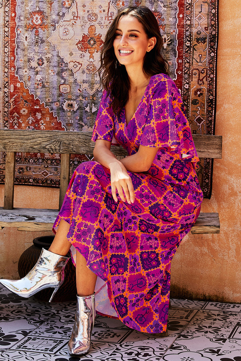 Vintage Bohemian Print Holiday Party Maxi Dress - GHA Discount