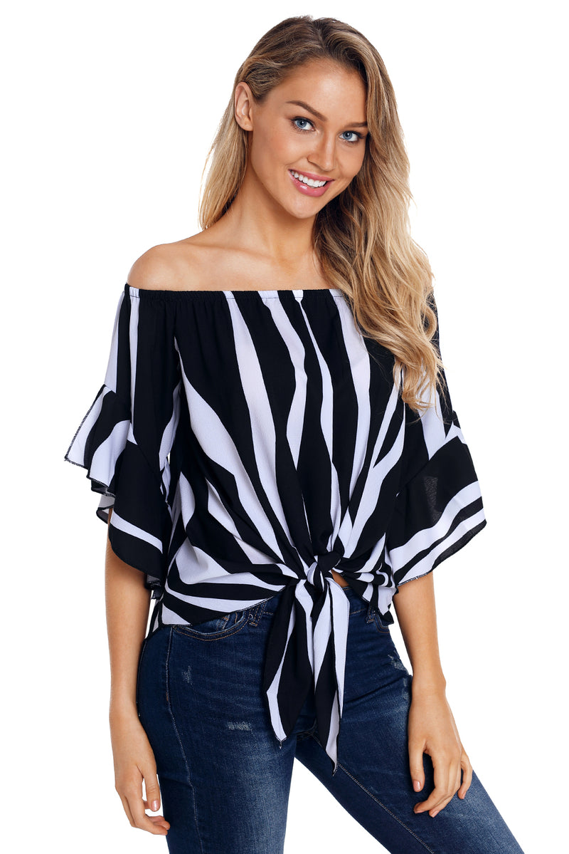 Off The Shoulder Vertical Stripes Blouse in Black - GHA Discount