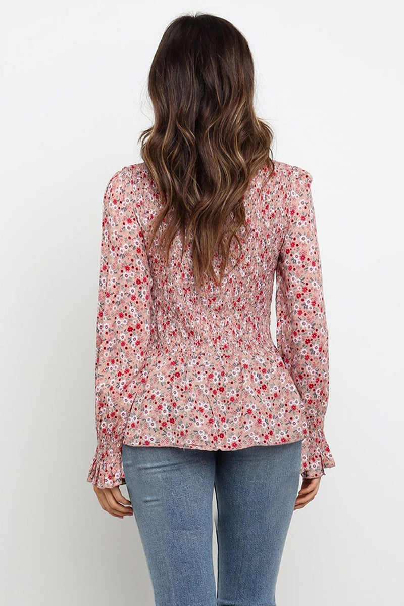 High Neck Floral Blouse - GHA Discount
