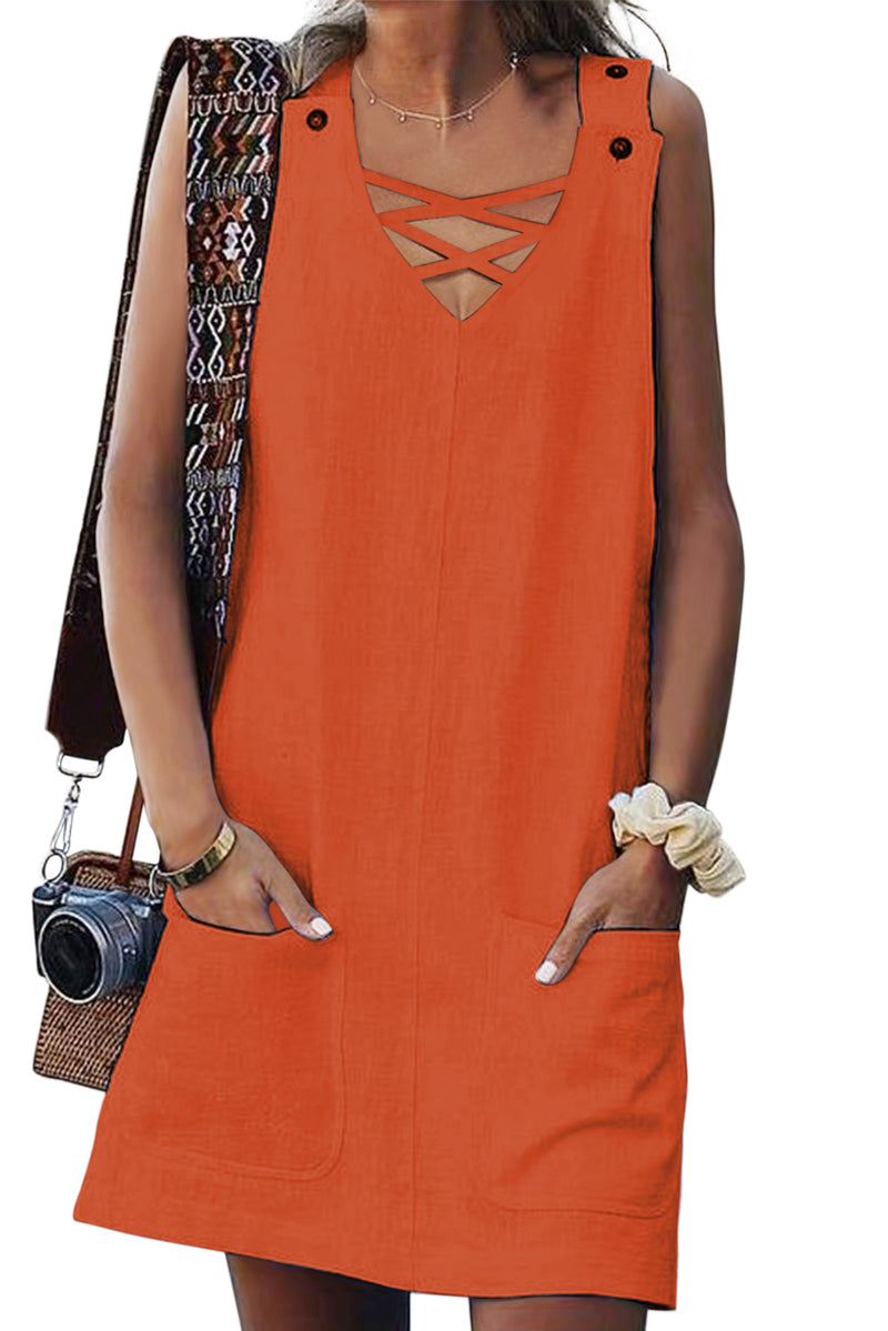 Orange Cross V Neck Buttoned Pockets Dress - GHA Discount