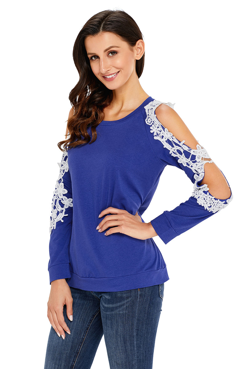 Lace Trim Cold Shoulder Royal Blue Long Sleeve Top - GHA Discount