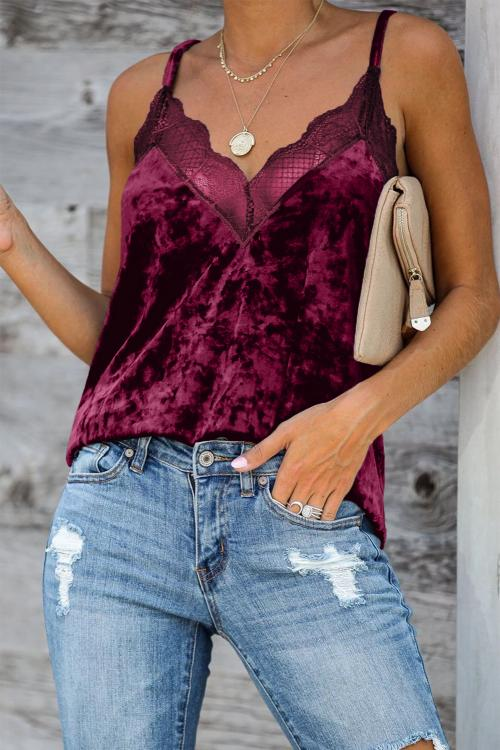 Red Velvet Lace Cami Tank - GHA Discount